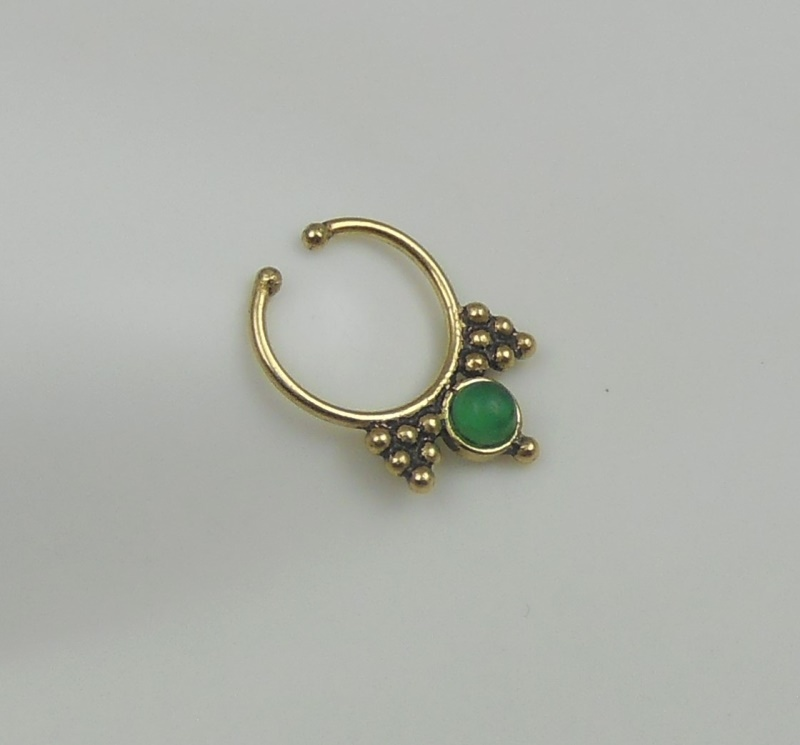 green onyx brass septum ring indian nose ring