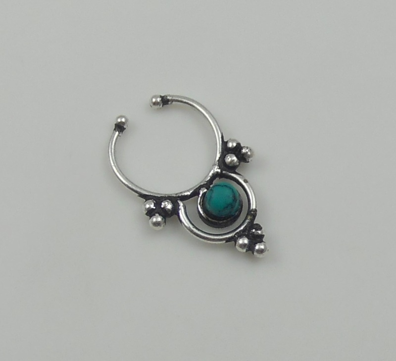 turquoise 925 sterling silver septum ring indian