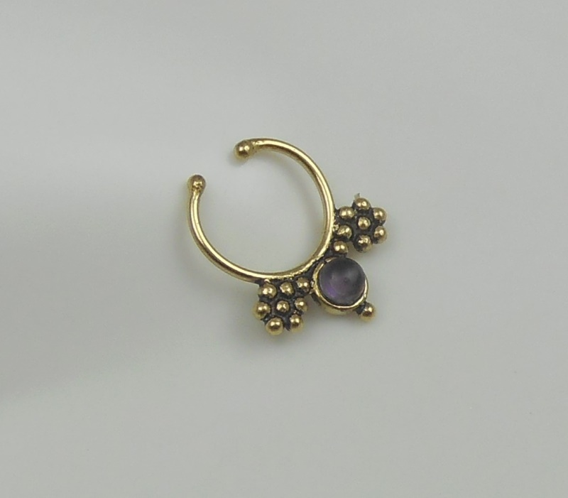 amethyst brass septum ring indian nose ring septum