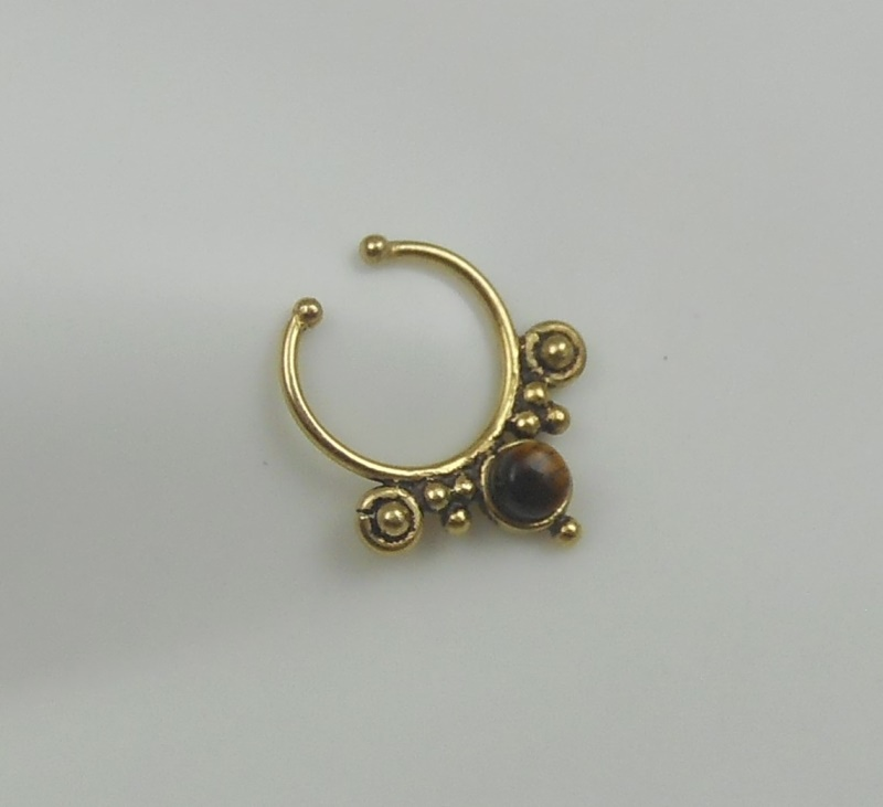 tiger eye brass septum ring indian nose ring septum